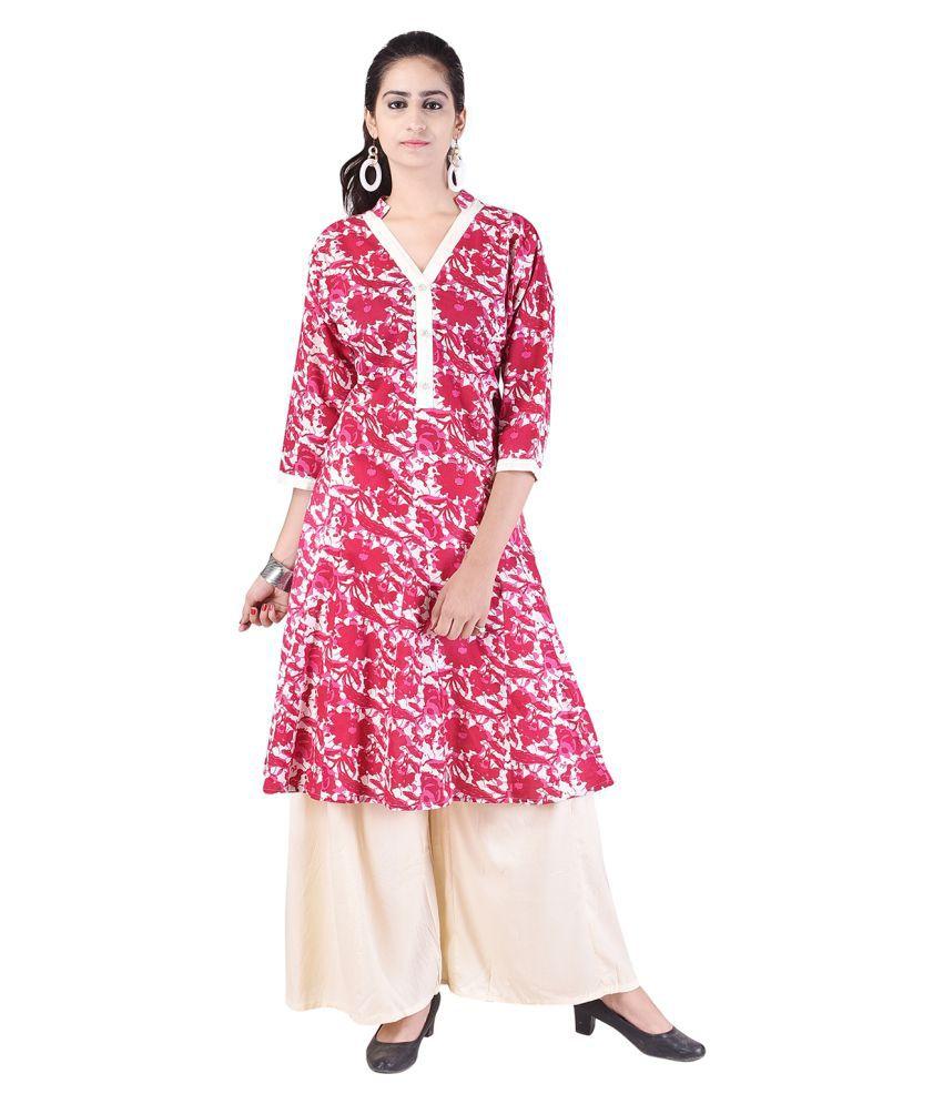 Alfaaz Pink Rayon Anarkali Stitched Suit