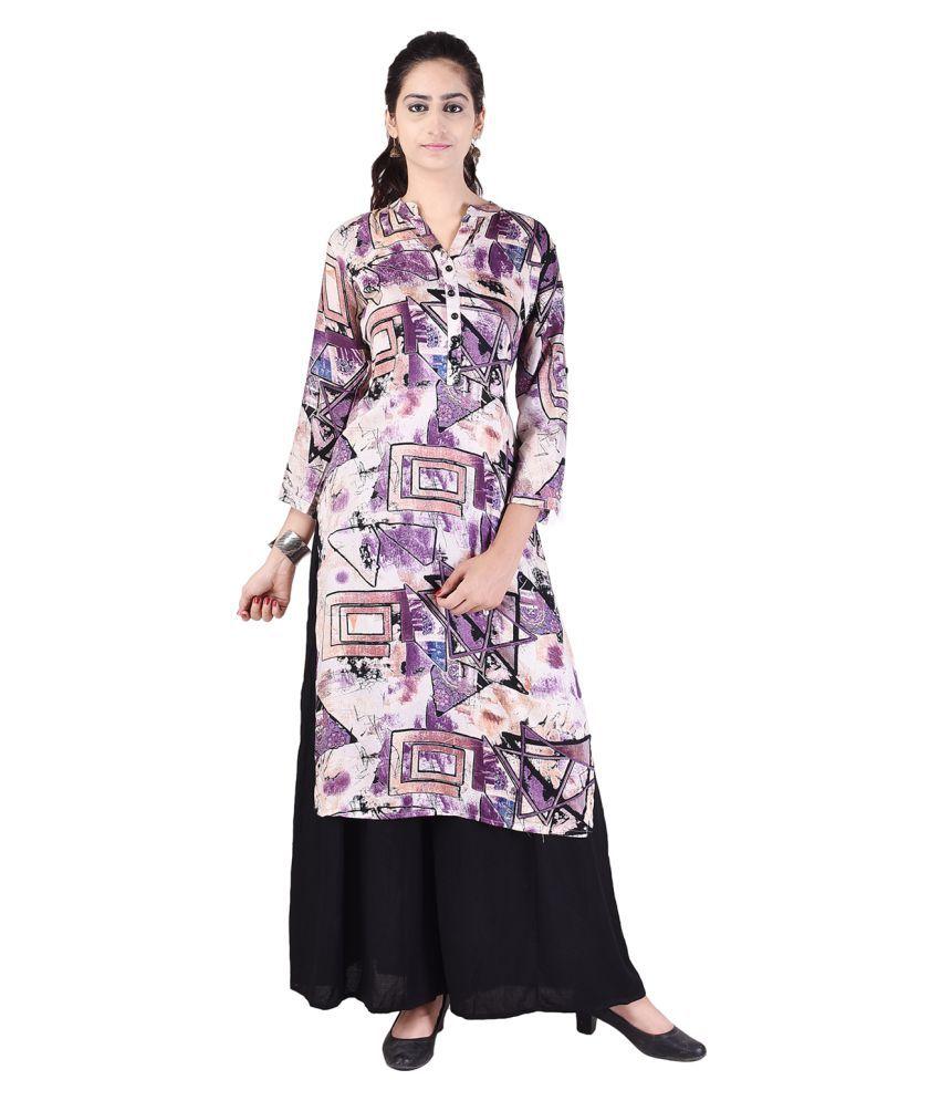 Alfaaz Purple Rayon Straight Stitched Suit