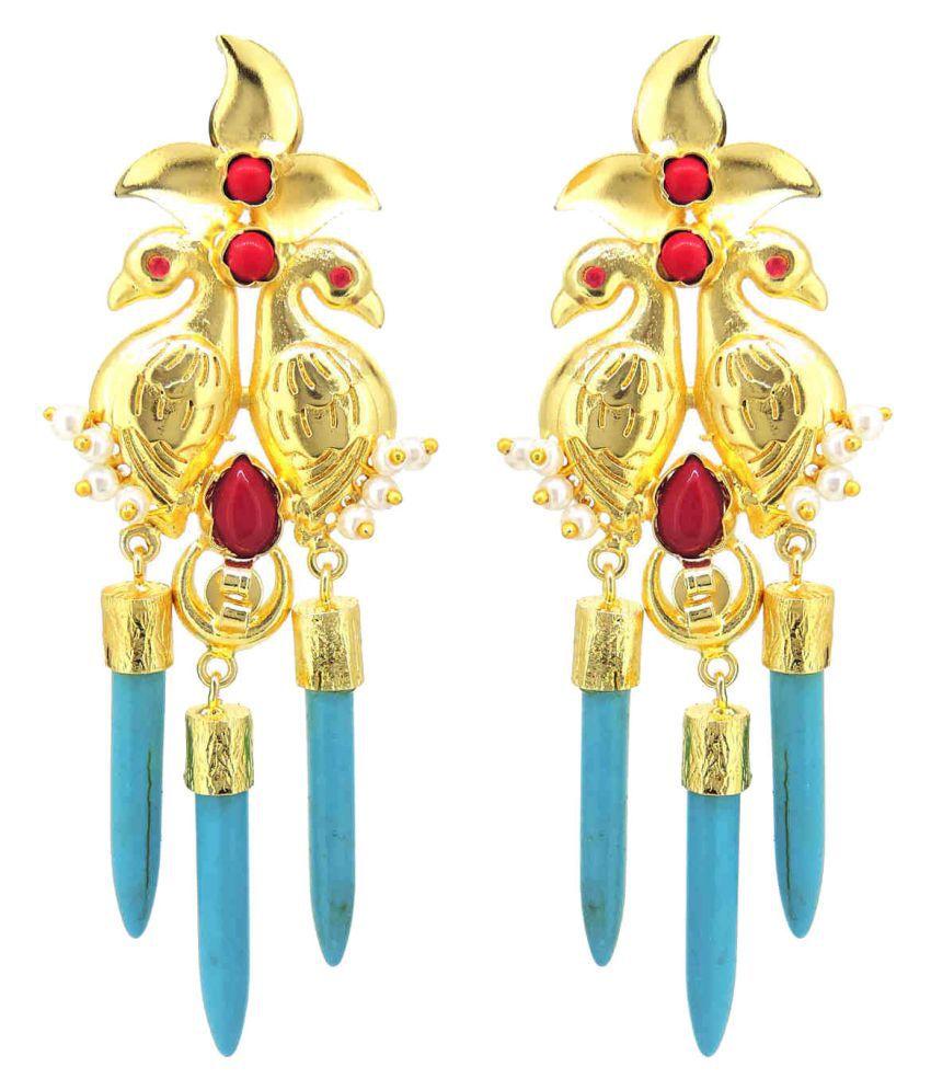 Peacock Indo Western  Colored Stone Stylish Desginer Dangler Earring For Girls / Women