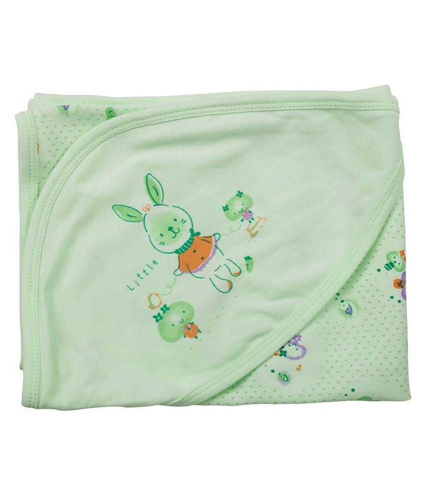 SIMPLY Green Cotton Baby Wrap cum blanket ( 58 cm × 60 cm - 1 pcs)