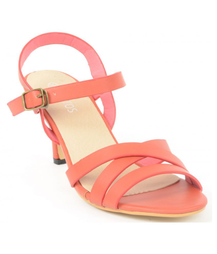 Estatos Orange Block Heels