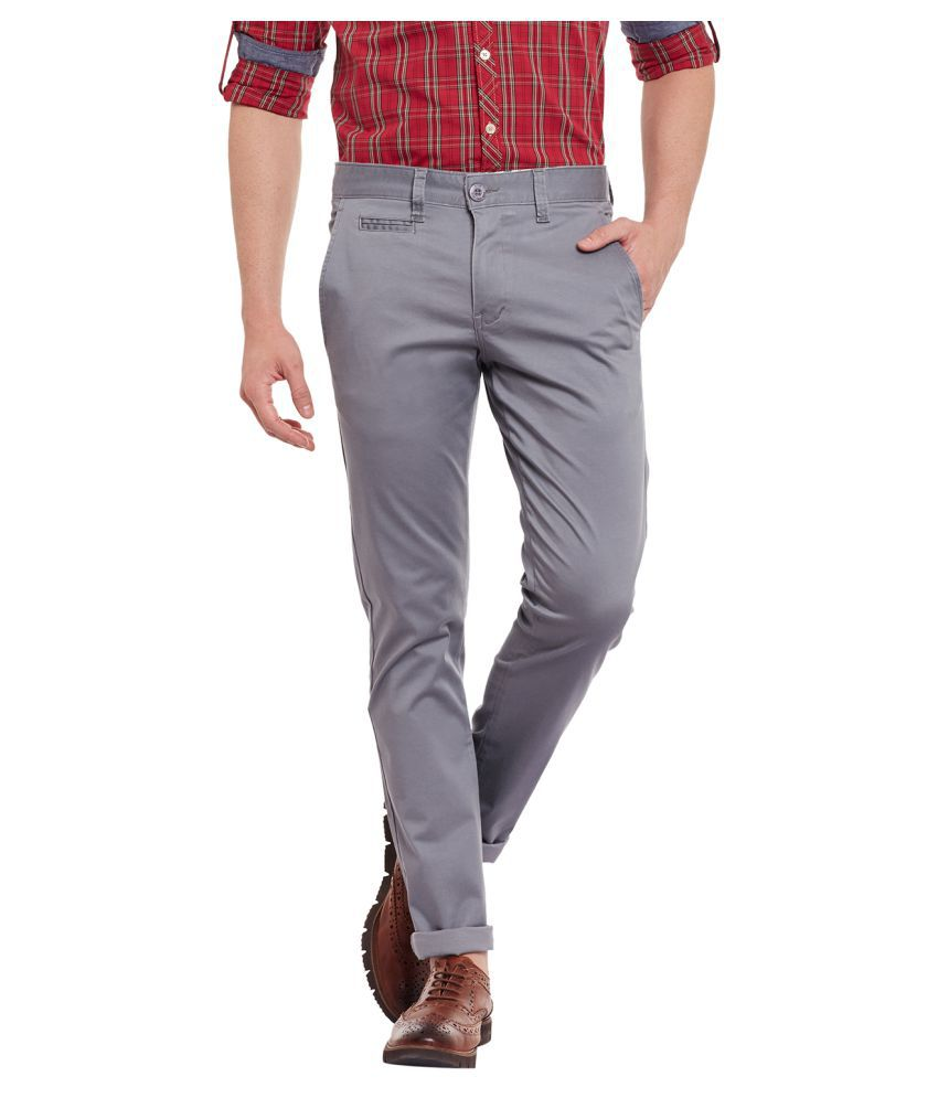 Wear Your Mind Grey Regular -Fit Flat Trousers
