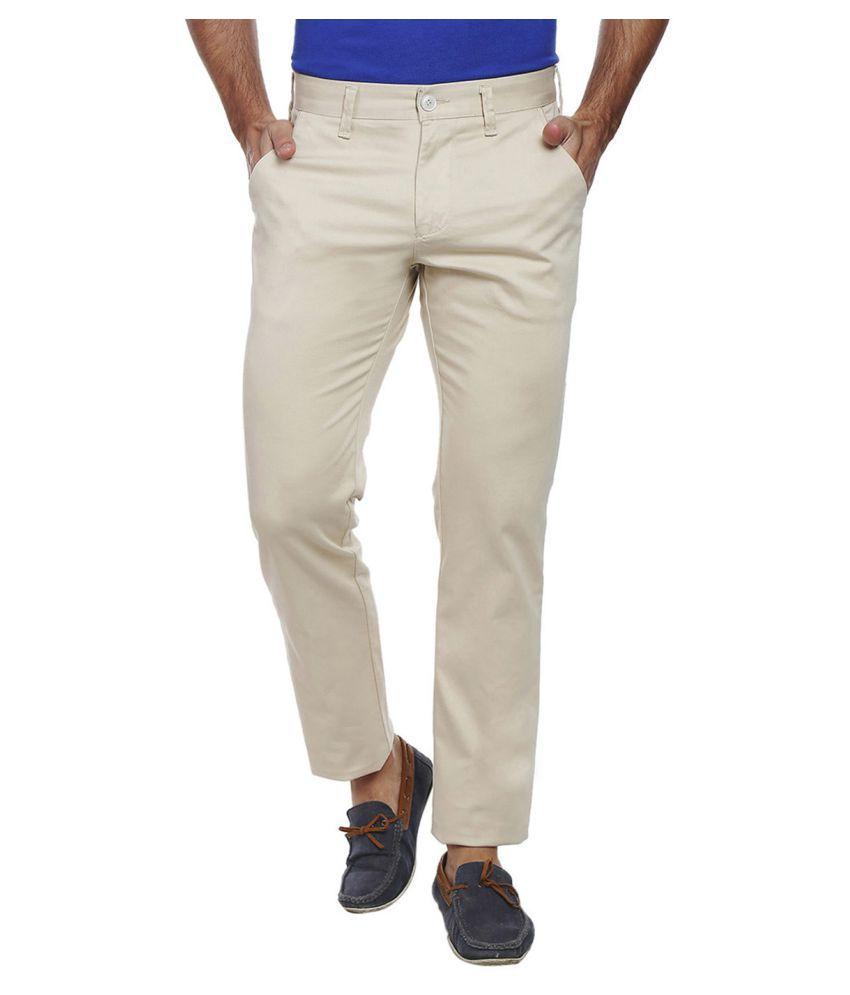 Integriti Beige Slim -Fit Flat Trousers