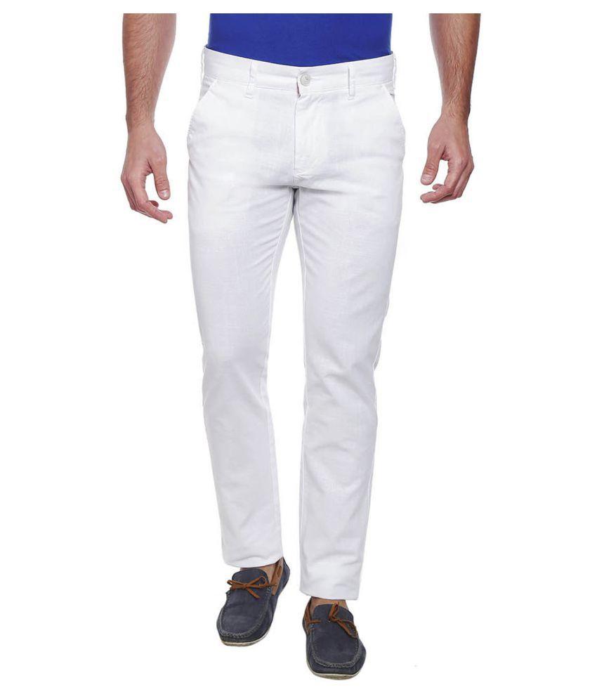 Integriti White Slim -Fit Flat Trousers