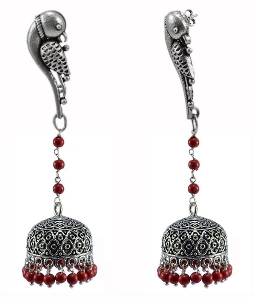 Reconstituted Coral Beads And Parrot Studs Jhumka Jaipur Jewellery-Dome Shaped Gypsy Earrings-Silvesto India PG-114217
