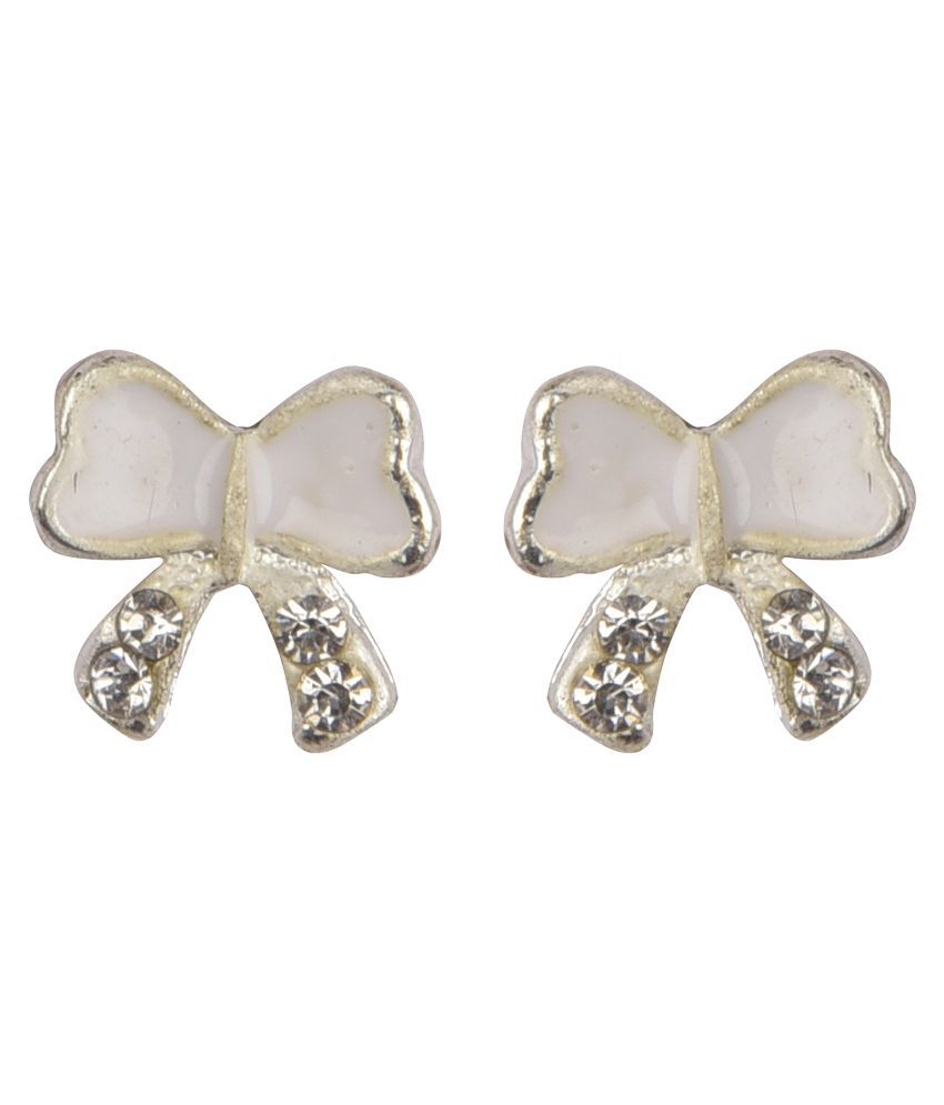 Diva Walk white alloy stud  earring
