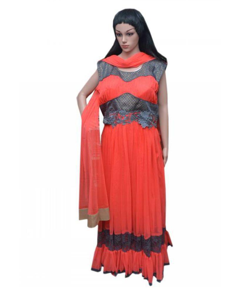 Queen Trends Orange Chiffon Anarkali Stitched Suit