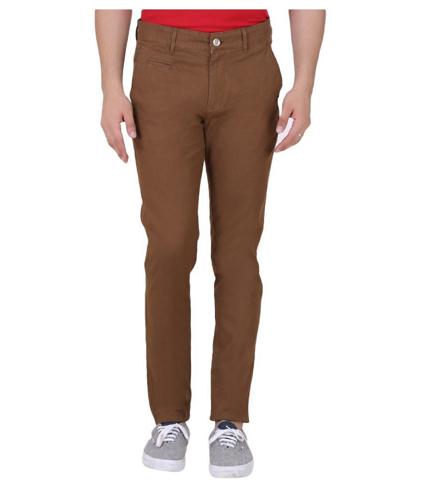 Realm Brown Regular -Fit Flat Chinos