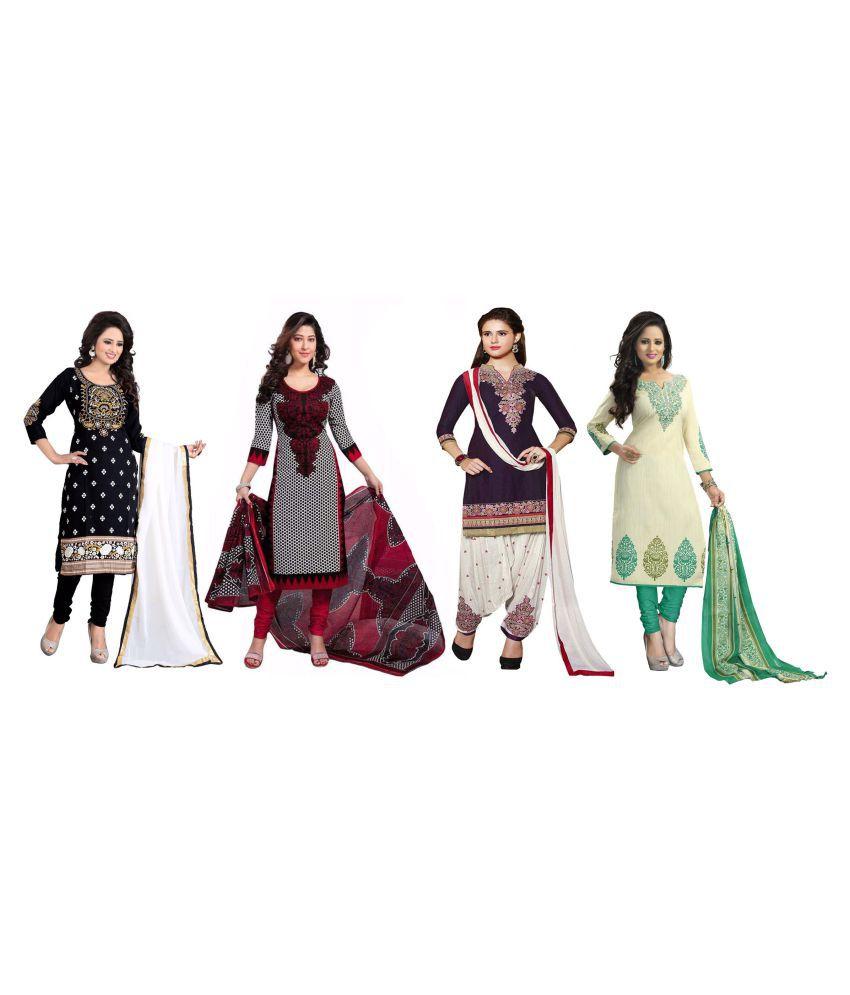 BuyerHub Multicoloured Polycotton Dress Material