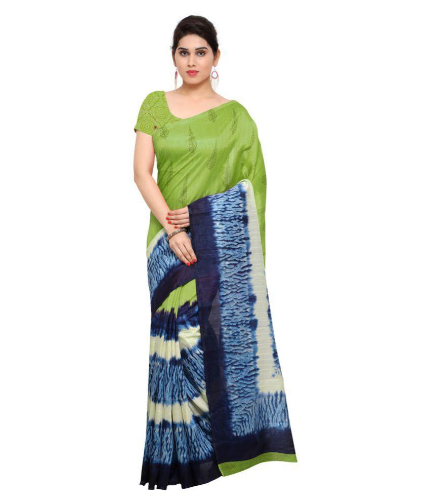 Saree Mall Green and Blue Bhagalpuri Silk Saree