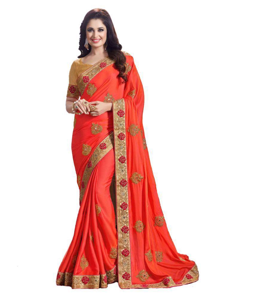 Lavanya Creation Orange Silk Saree