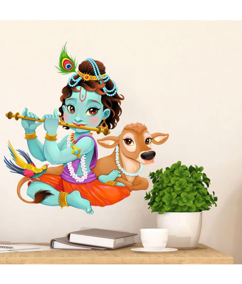 Scotlon Krishna With Cute Calf Vinyl Multicolour Wall