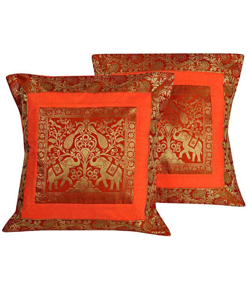 Lal Haveli Set of 2 Silk Cushion Covers 45X45 cm (18X18)