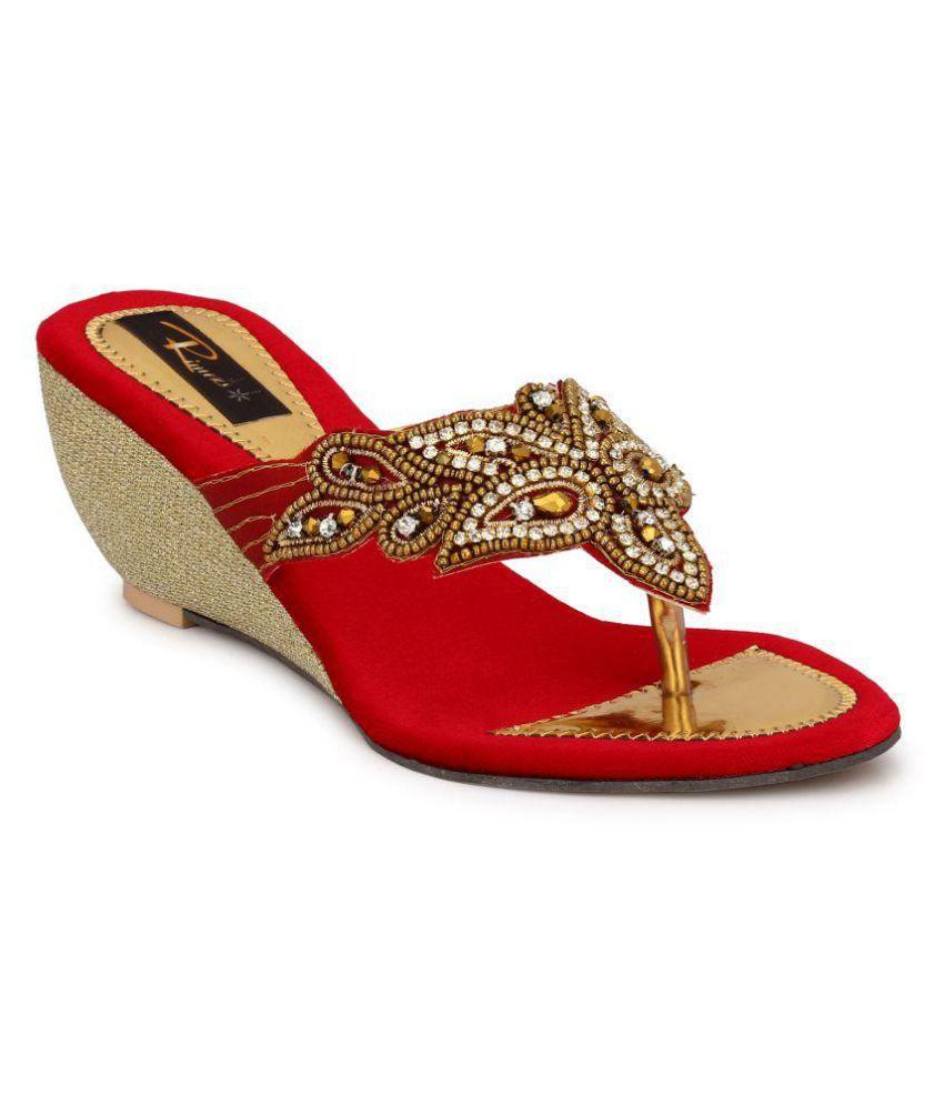 Rimezs Red Wedges Heels