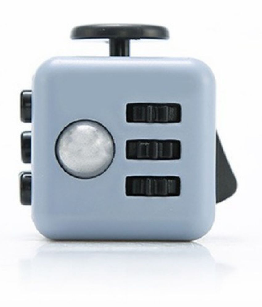 COMBO OF FIDGET CUBE BLACK WITH GREY SPINNER BLUE