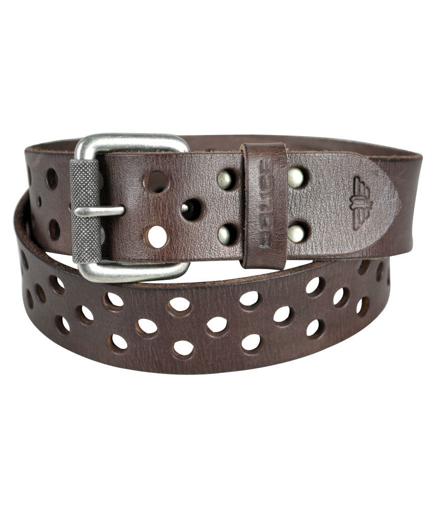 Police Brown Leather Casual Belts