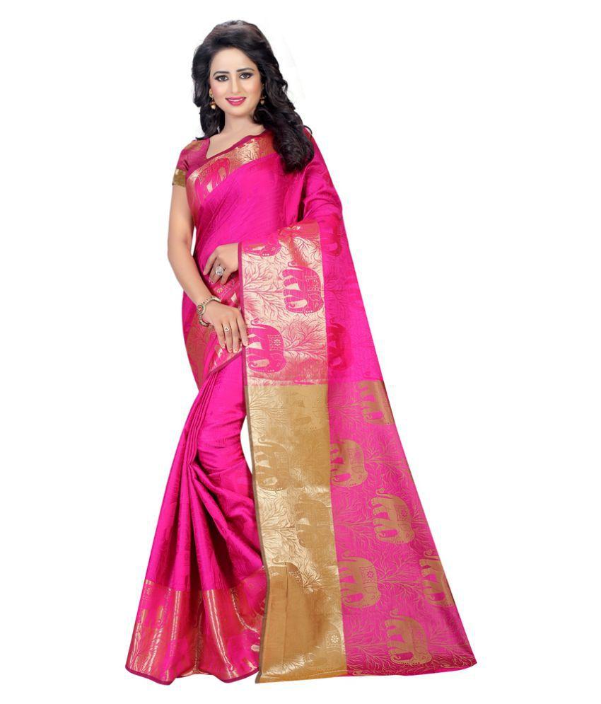 Edeal Online Pink Cotton Silk Saree