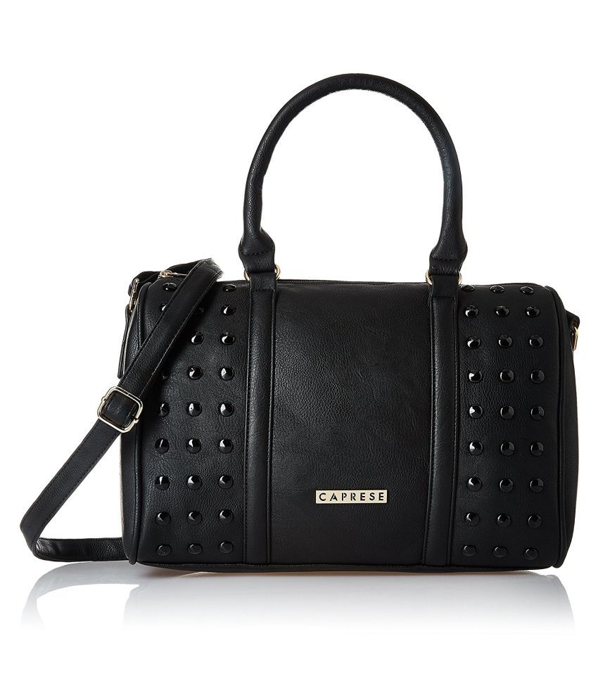 Caprese Black Faux Leather Handheld