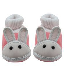 Neska Moda Baby Boys & Girls Rabbit Baby Pink Booties For 0 To 12 Months Infants