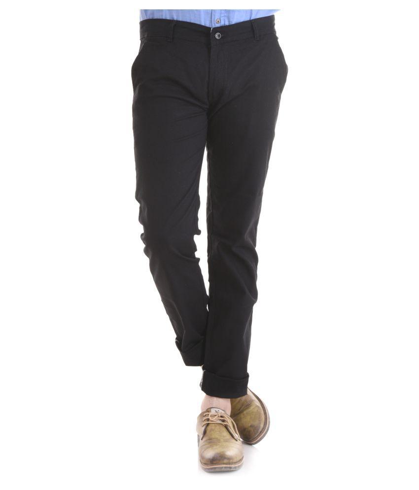 KALVIA Black Regular -Fit Flat Trousers