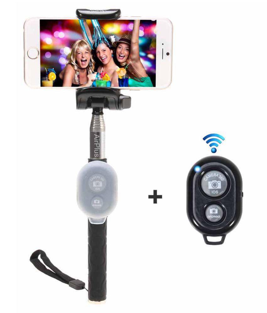 airplus black bluetooth selfie stick 104 cm selfie sticks accessories online at low prices. Black Bedroom Furniture Sets. Home Design Ideas