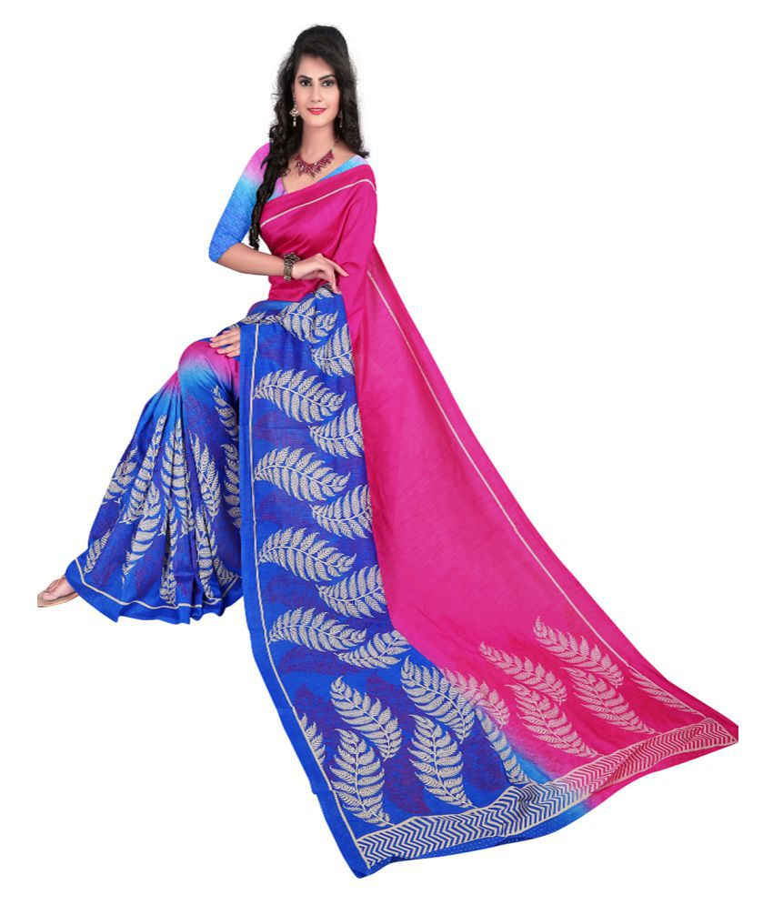 30e358c087933 Sunita Sarees Pink and Blue Polycotton Saree - Buy Sunita Sarees Pink and Blue  Polycotton Saree Online at Low Price - Snapdeal.com