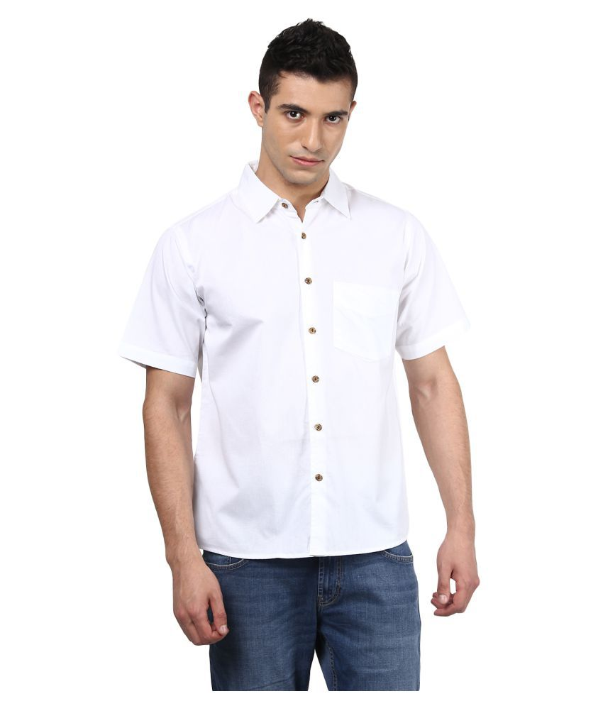 Vivid India White Casual Regular Fit Shirt