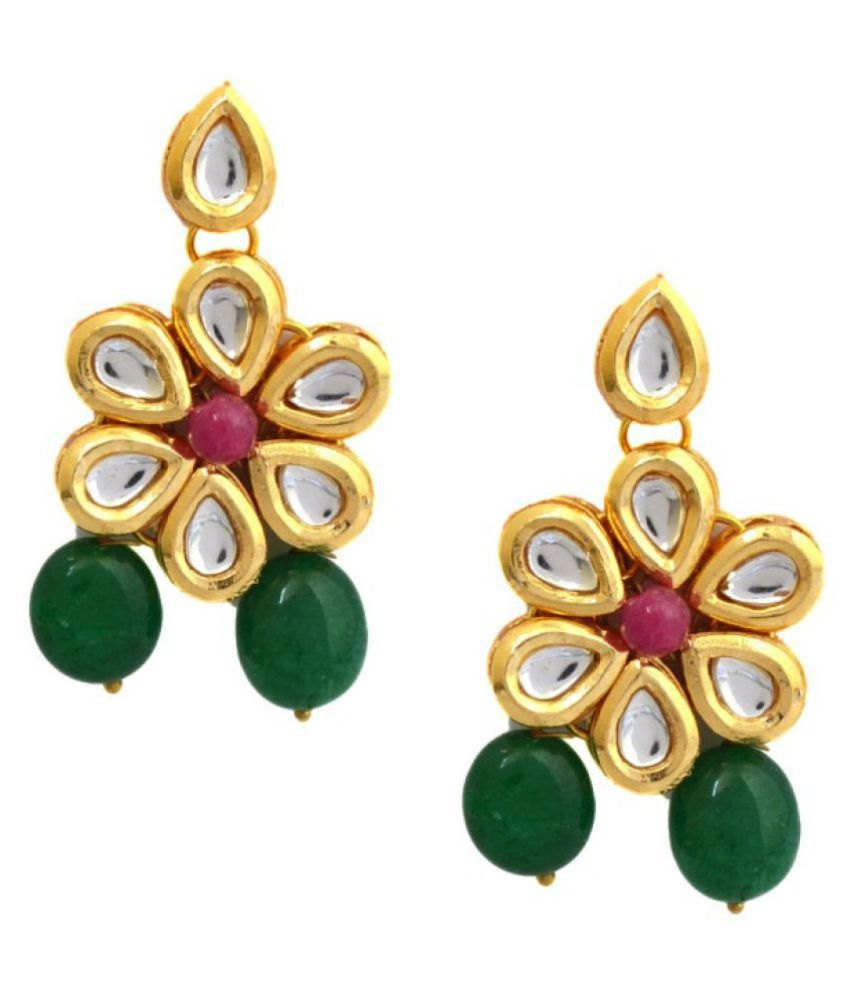 Gehnoor High Quality Artificial Ruby Pink and Emerald Green Kundan & Pearl Stud Earrings ( Fashion Jewellery )