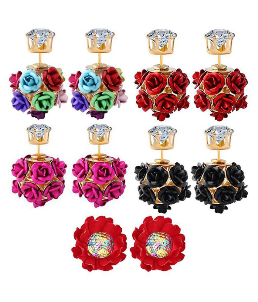 Jewels Galaxy Exclusive Elegant Rose Designer Glitzy Multicolor Magnificent Stud Earrings Collection For Girls/Women - Pair of 5