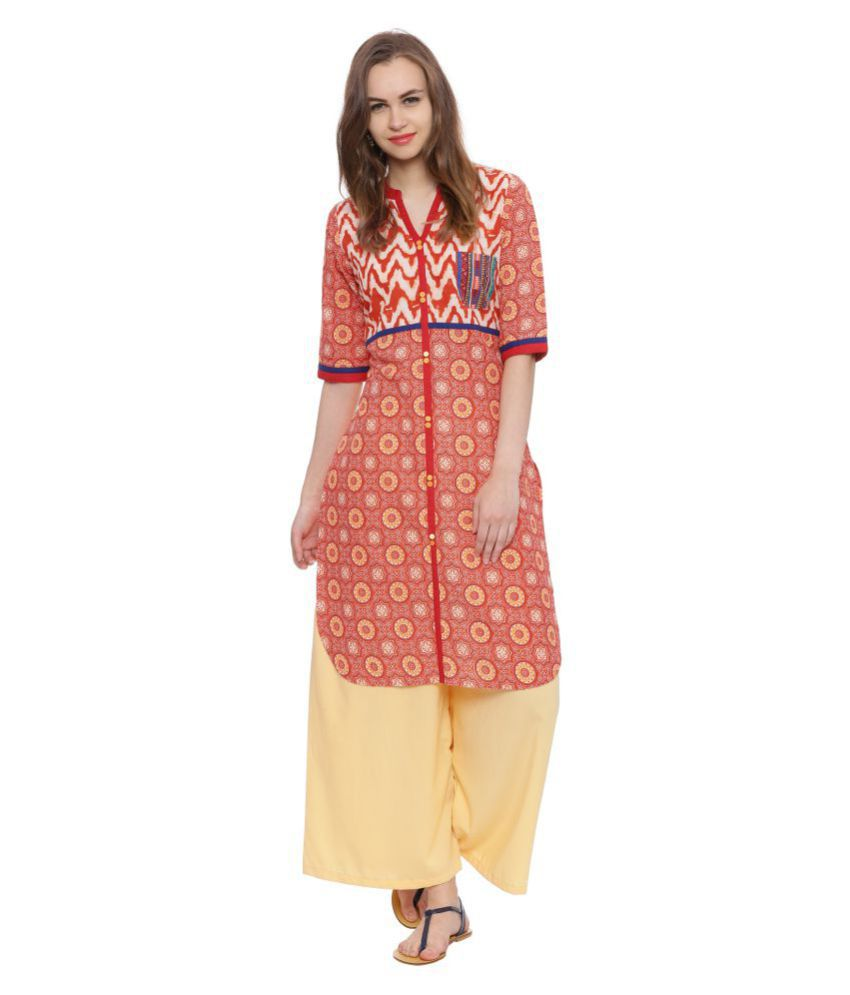 Avaana Orange Cotton Straight Kurti