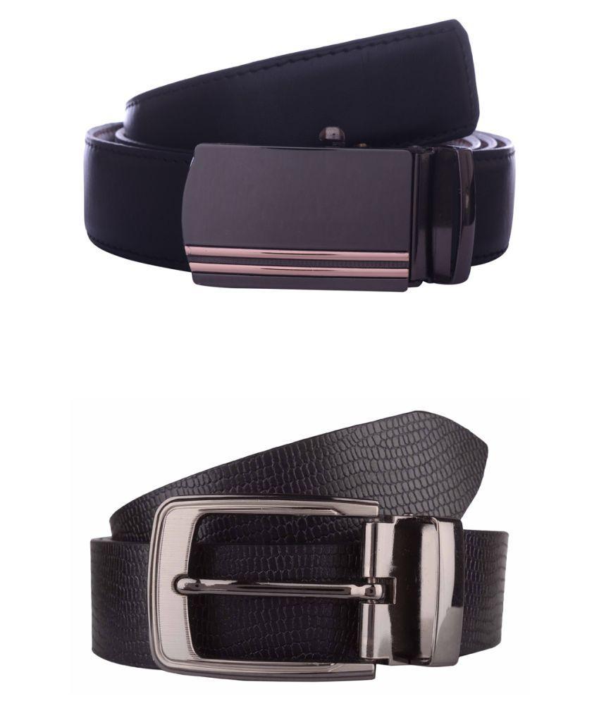 Exotique Black Leather Combo Belts