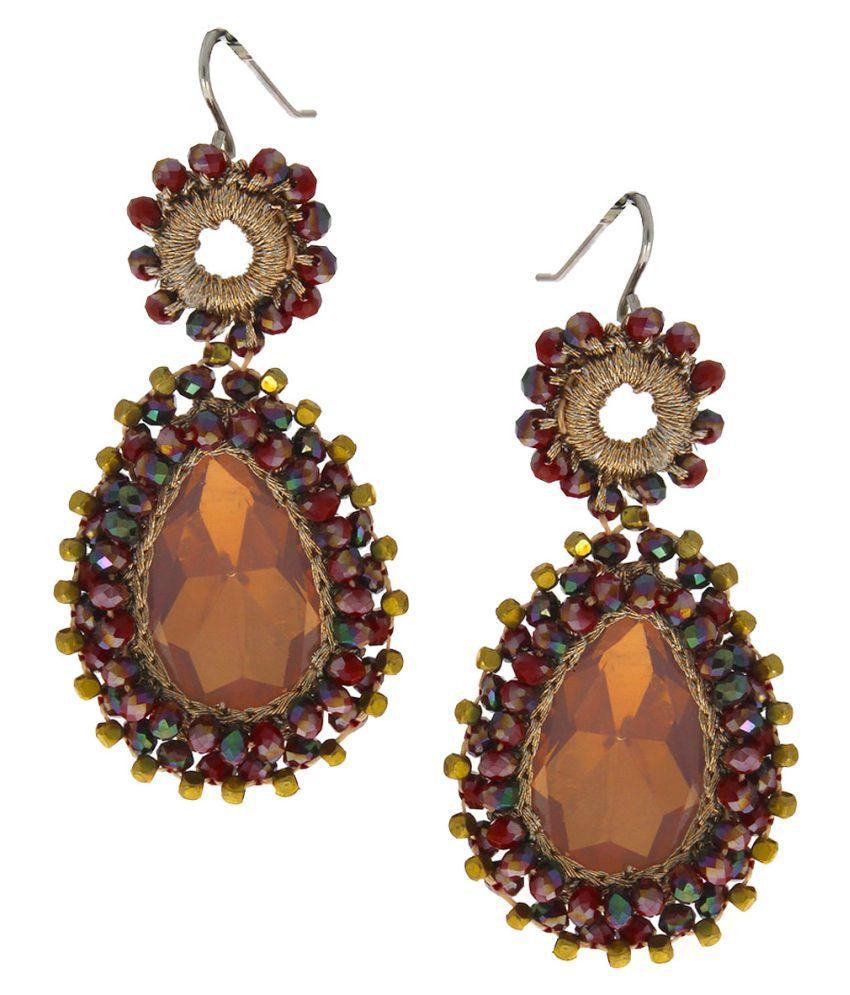 Anuradha Art Brown Colour Classy Handmade Designer Party Wear Fancy Long Earrings For Women/Girls