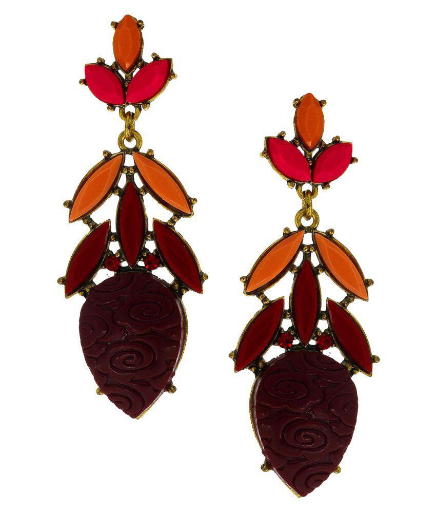 Anuradha Art Golden Finish Studded Multi Colour Party Wear Fancy Long Earrings For Women/Girls