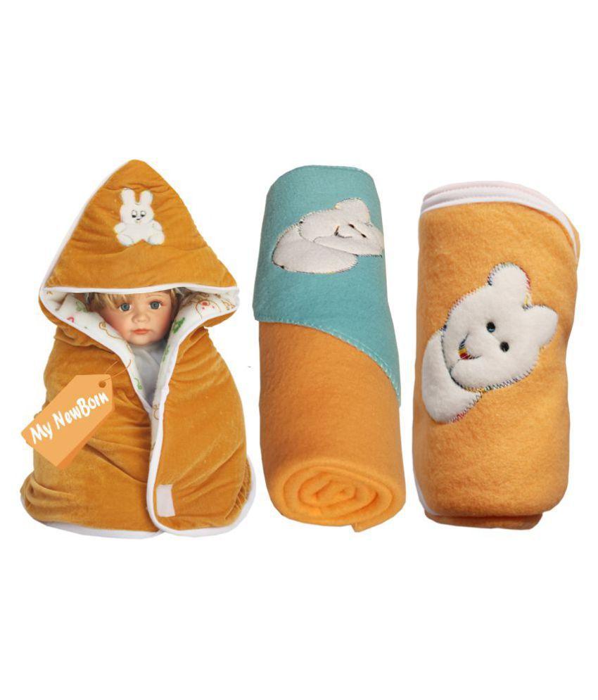 My NewBorn Beige Velvet Baby Wrap cum blanket ( 66 cm × 66 cm - 3 pcs)