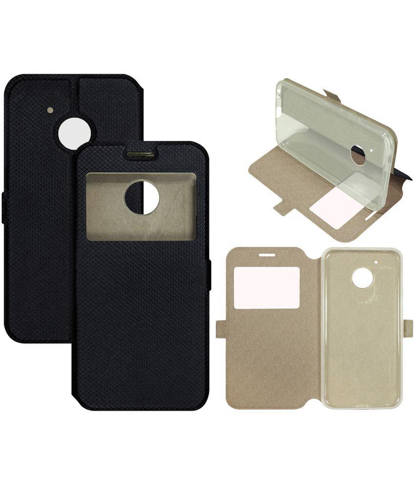 newest 4197e f6fe3 Motorola Moto G5 Plus Flip Cover by Casotec - Black