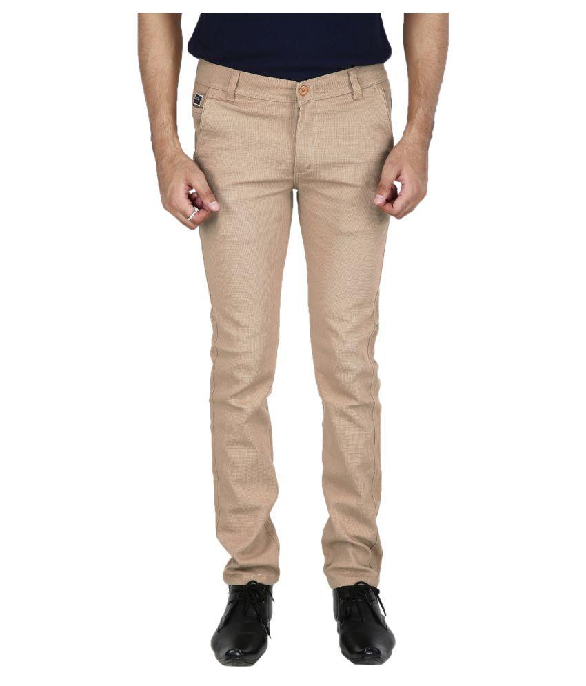 Stallion Cotton Clothing Khaki Regular -Fit Flat Chinos