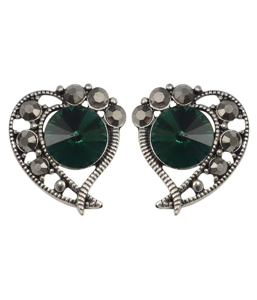 Taj Pearl Designer Crystal Stud Earrings