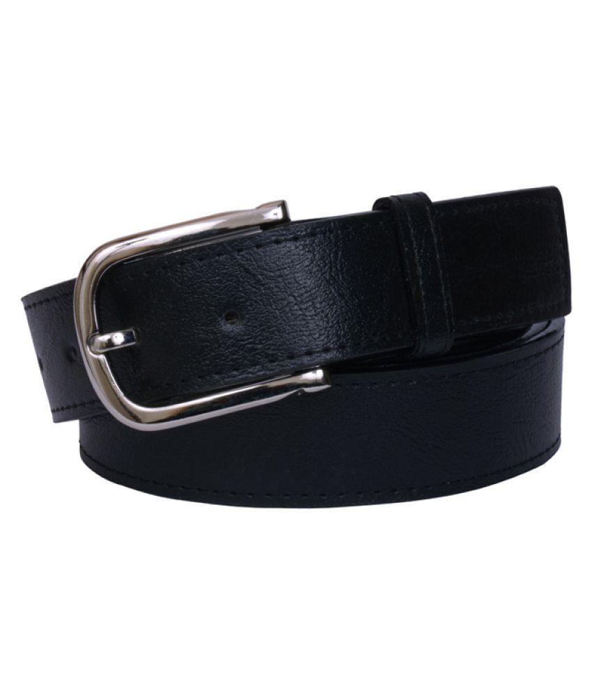 Visach Black Faux Leather Casual Belts