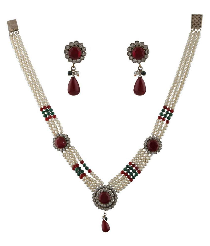 Anuradha Art White Colour Designer Studded Maroon Colour Stone Traditional Necklace Set For Women/Girls