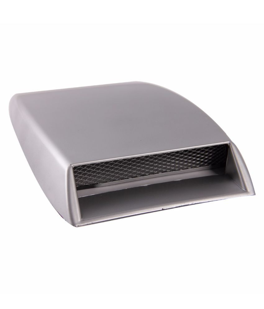 Medineeds Car Hood Scoop Universal Air Flow Vent with Mesh (Silver)