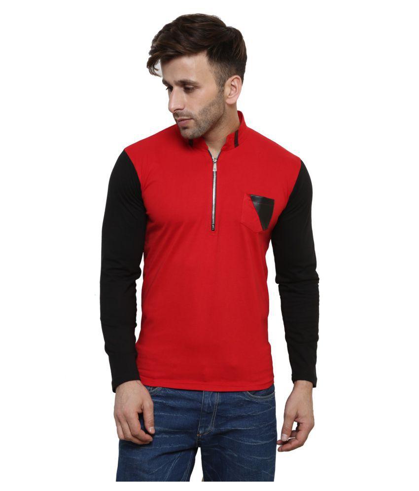 Leana Red Henley T-Shirt