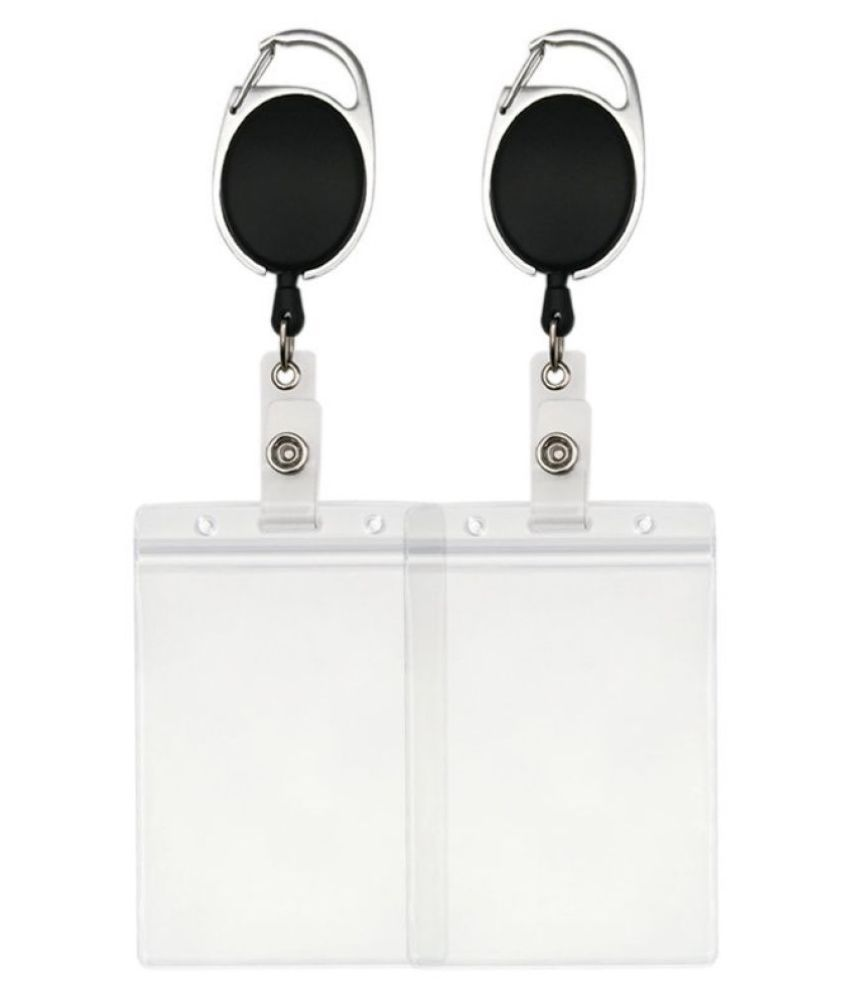 Retractable Badge Holders with Carabiner Reel Clip and Vertical Style Heavy  Duty ID Card Holders (2)