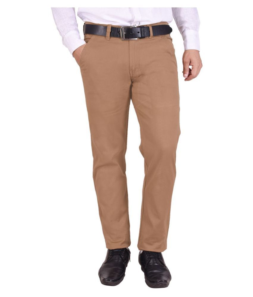 Nation Polo Club Brown Slim -Fit Flat Chinos