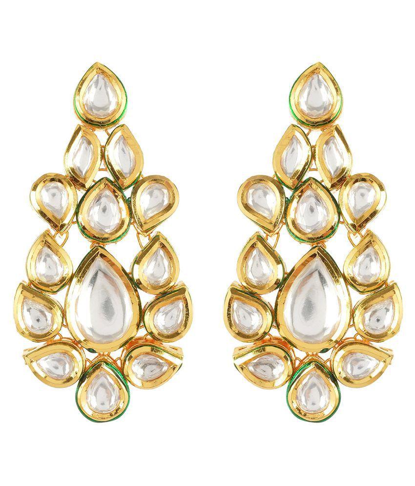 Traditional Kundan Meena Stylish Desginer Dangler Earring For Girls / Women