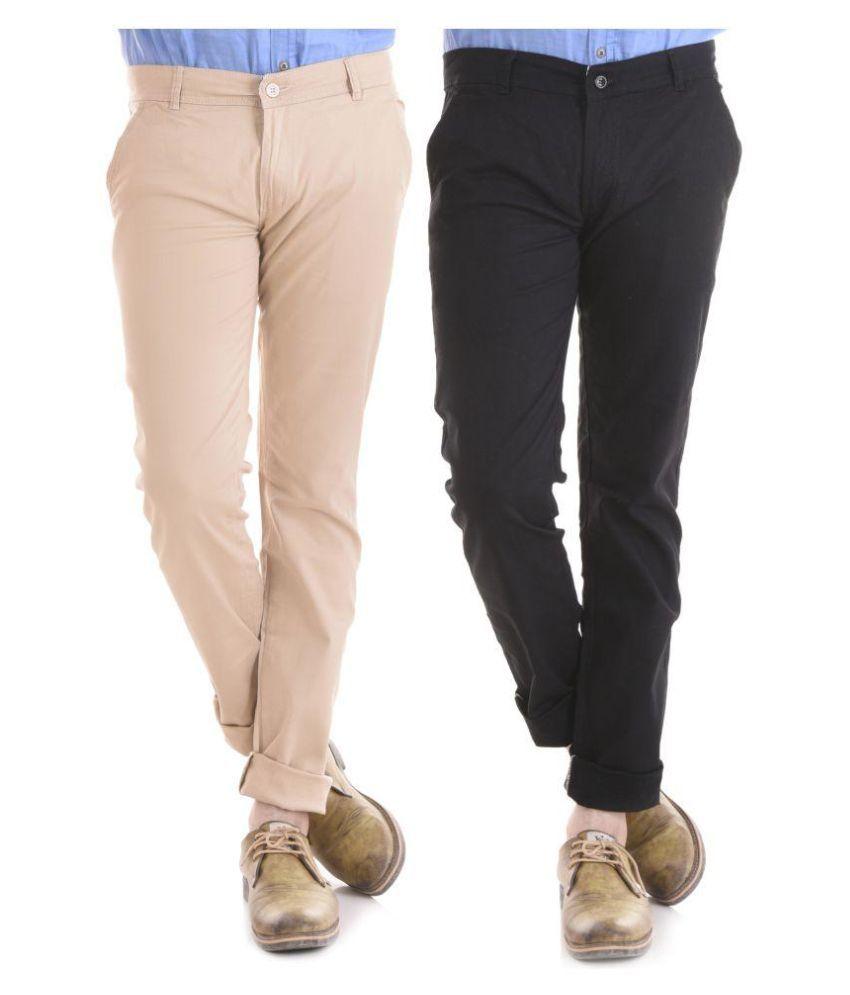 KALVIA Multi Regular -Fit Flat Trousers