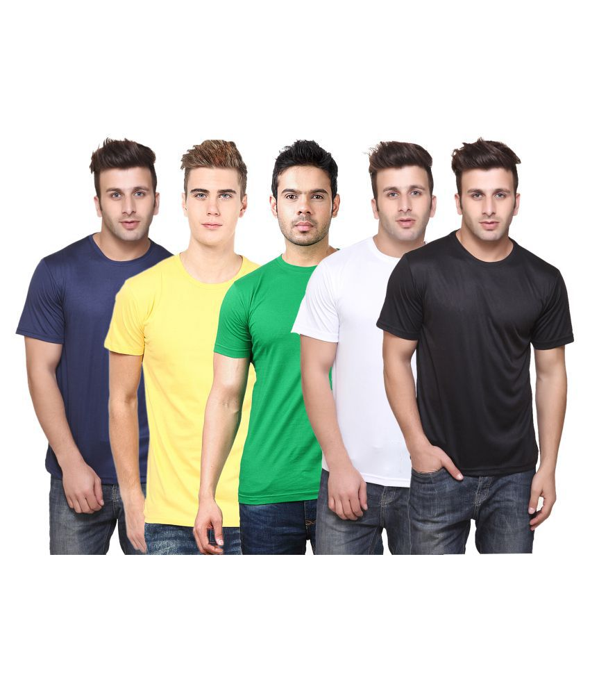 FUNKY GUYS Multi Polyester T-Shirt Pack of 5