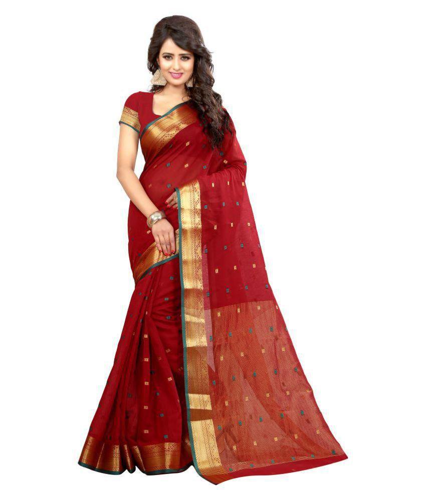Fabliva Red Cotton Silk Saree
