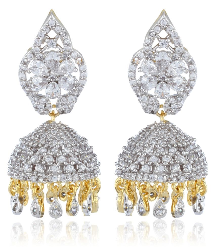 Fasherati CZ And White Crystal Stones Studded Flower Jhumkis for Women