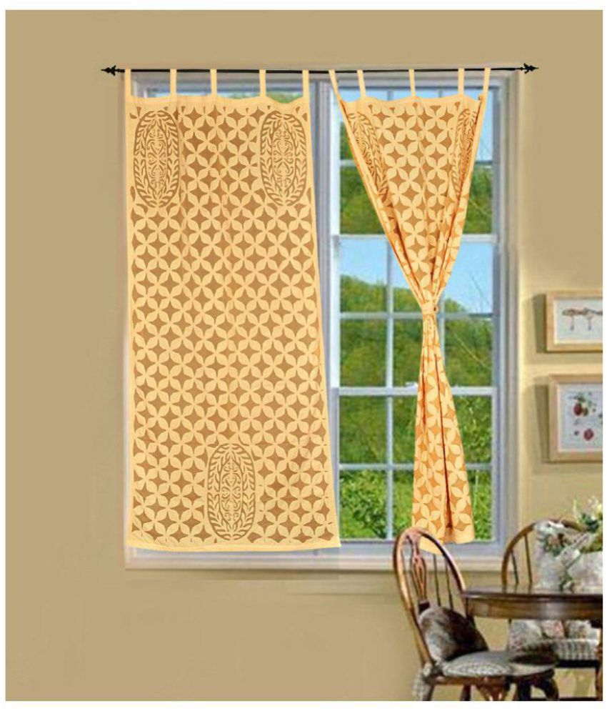 Lal Haveli Set of 2 Door Tab Top Curtains Traditional Beige