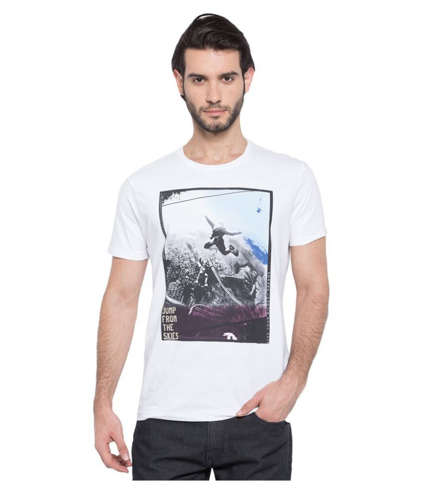 Spykar White Round T-Shirt
